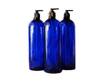 32 oz Plastic Bottle Cobalt Blue Tall PET Round Bottles w/ Black Lotion Pumps Available in 1 & 3+ Kraft Labels