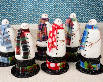 Whimsical Snowman in Top Hat Basket, Snowman, Snowmen