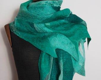 Nuno Felted Scarf Silk Wool Scarf Nuno Felted Shawl Wrap Green Emerald  Hand Felted Scarf for Women Design Shawl Handmade