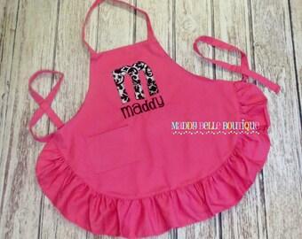 Girls Custom Embroidered Pink Ruffle Apron - Embroidered, Personalized, Monogram, Apron, Girls Apron, Ruffle Apron, Damask, Alpha, Paint