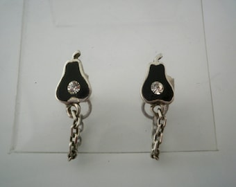 Sterling Silver Earrings Black Pear with Brilliant and little chain