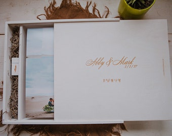 12.5x12.5x2 Wood Album Box with a separate space to hold a USB drive