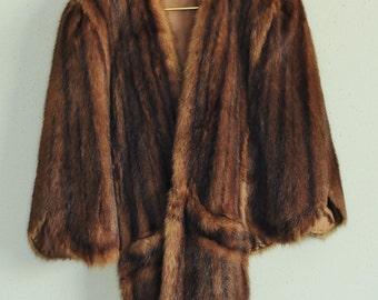 SALE!! Vintage Muskrat Fur Cape-Fur Shrug with Pockets-Vtg Ladies Fur Wrap Coat