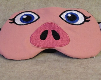 Embroidered Eye Mask for Sleeping, Cute Sleep Mask for Kids & Adults, Sleep Blindfold, Eye Shade, Slumber Mask, Pig Face Design, Handmade