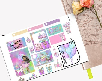 Birthday Princess Day Theme One Day Small Planner Sticker Set, All Happy Planner Stickers, Stickers, Printed, Cut, Functional Sticker