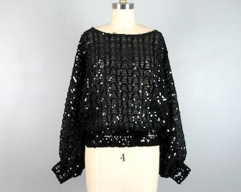 Vintage 1980s Sequin Blouse 80s Black Sheer Sparkling Batwing Blouse Size L