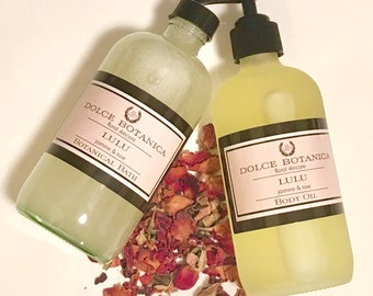 Spa Gift Set, Jasmine and Rose Body Oil and Bubble Bath, Sulfate-Free Bubble Bath, Gift for Her