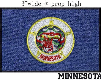 State of Minnesota Flag Iron On Patch 3 x 2 inch Free Shipping (Medium)