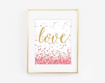 Valentines Day Love Heart Confetti Digital Printable Valentines Day Art Print