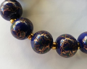 O54 deep blue cloisonne beads with gold highlights