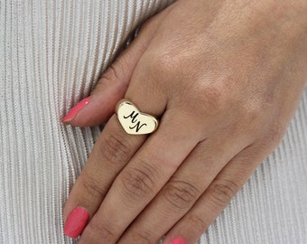 18k Gold plated Heart ring with initials or name personalized monogram gift custom engraved