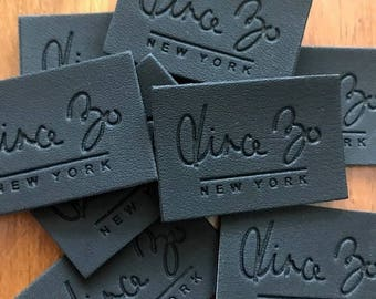 100 Leather Labels - Brown or Black Leather Patches - Made in USA Company