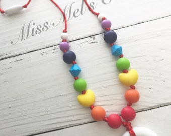 Rainbow Teething Necklace/Sensory Play/Adults/kids/baby/toddler/teether/shower/gift