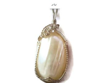 Silver shell pendant, Handmade Sterling silver Osmena pearl pendant, Pearl pendant, Pearl necklace
