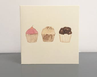 "Cupcakes original hand painted watercolour card (4 x 4"")"