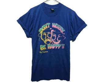 """VINTAGE ©1988 """"Don't Worry, Be Happy! St. Thomas"""" - Screen Stars Best 50/50 T-shirt"""
