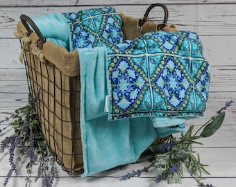 Weighted Blankets - Blue/Teal Tile Cotton - Minky Options - Adults, Teens, and Children - Masculine - Minky