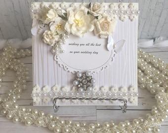 Shabby chic wedding day card, handmade wedding Day card, custom made wedding day card