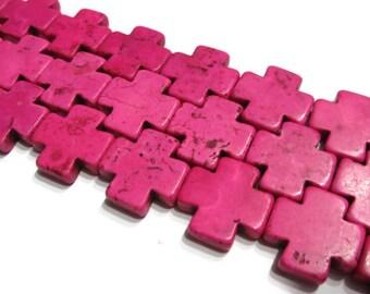 20mm x 20mm Pink Howlite Cross Beads