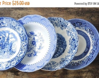 ON SALE Blue and White Mismatched Saucers Set of 4, Tea Party,  Plates for Wedding, Cottage Chic, Vintage, Replacement China