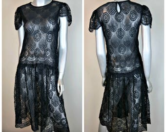 Vintage Unbranded Black Lace Dress Cap Sleeve Victorian Goth Wedding Women's Sz Small (6 or 8??)