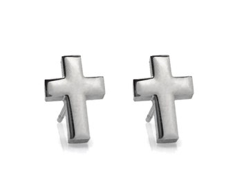 Tiny Cross Stud Earrings, Religious Jewelry, Silver Cross Post Earrings, Hypoallergenic Jewelry, Unisex Earrings