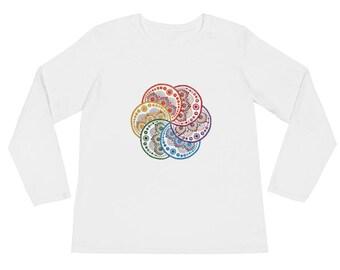 Ladies' Long Sleeve T-Shirt, mandala, mandala art, dot mandala, dot mandala art, dot mandala t-shirt, boho art, boho, hippie shirt