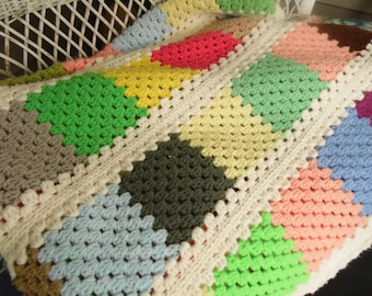 Vintage Multi Color Granny Square Afghan - 62 Inch x 53 Inch