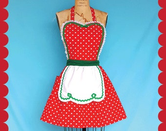 Christmas apron, retro apron,  Red green Polka Dot full apron holiday hostess, apron, elf costume, gift for her, ready to ship