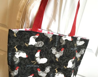 Reversible Market Tote, Roosters, Bistro check