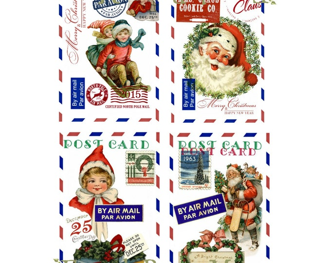Santa Digital Christmas Postcards, Digital Airmail Christmas Printable, Retro Christmas Digital, Christmas Download, set of 4 cards