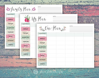 Watercolor Printable Family Plan, Printable Schedule, Family Planner, Printable Weekly Calendar, Family Schedule, Planning Printable