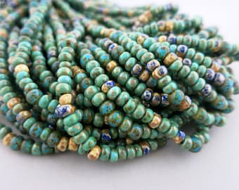 6/0 Turquoise Valley Bead Mix, Full Strand 150, 4-4.5mm Beads, Boho Beads,  Czech Glass Picasso Seed and Bugle Beads