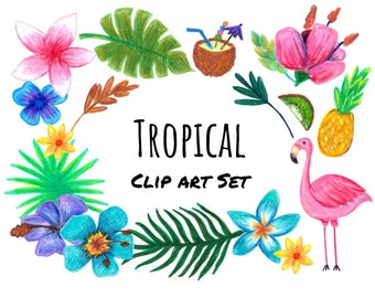 Hand Drawn Tropical Clip Art, hand drawn tropical clipart, hand drawn flamingo, tropical floral, doodle tropical clip art, PNG format