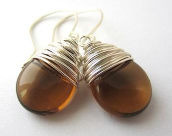 Smoky Topaz Earrings Wire Wrapped Earrings Tear Drop Earrings Wire Wrapped Jewelry Handmade Brown Earrings