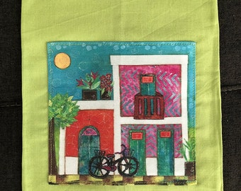 Green Linen Cotton Tea Towel 14x22 Old San Juan Houses