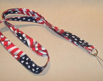 American Flag Print - handmade fabric lanyard