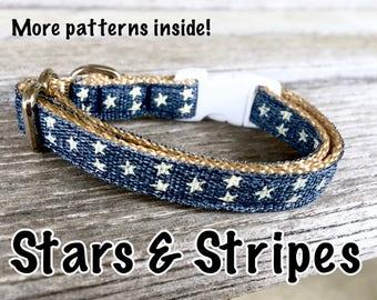 Stars & Stripes Cat Collar, Kitten Collar Choose Your Style, Cat Collar Navy Blue, Cat Collar Breakaway Buckle