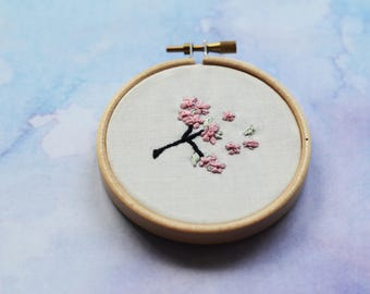 "Cherry sprig embroidery hoop art in 3"" hoop. Home decor; embroidered art; cherry blossom"