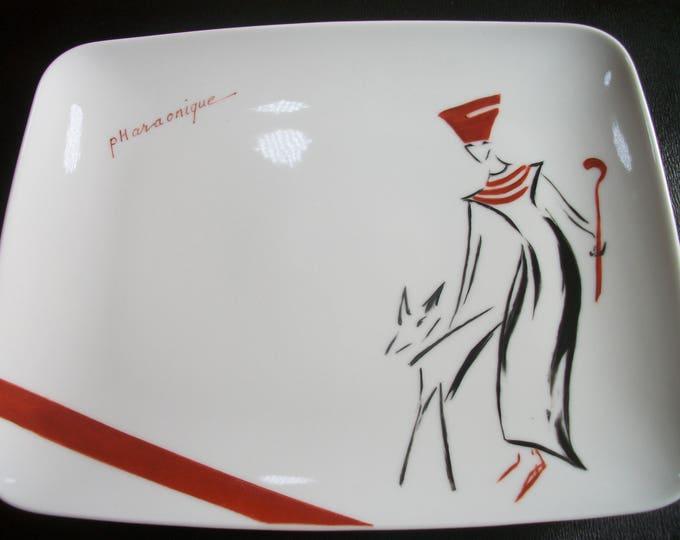 rectangular plate / pattern /peinte hand on porcelain, handmade design theme / PHARAONIC
