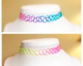 Rainbow Tattoo Choker Bes...
