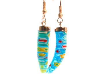 Blue earrings with millefiori glass