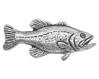 2 Bass Fish 1.25 inch ( 32 mm ) Pewter Metal Buttons Antique Silver Color