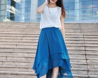 Irregular High Low Skirt Midi Skirt Chiffon Bridesmaid Skirts Maxi Skirt (038), #14