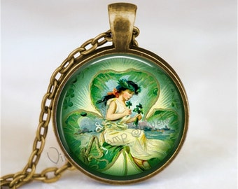 St. Patricks Day Necklace, Irish Angel Necklace, Irish Necklace, Irish Angel, St Patricks Day Jewelry, Irish, Shamrock, Four Leaf Clover