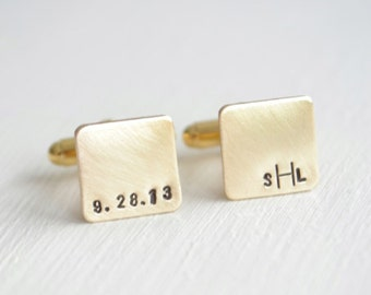 Personalized mini square gold cufflinks for men - hand stamped brass modern inspired heirloom monogram cuff links
