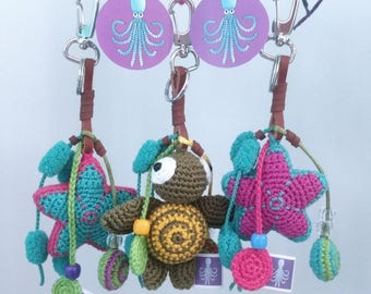 Chaveirinhos Hand Made with Amigurumis of Chochet from the seabed, miscellaneous. Children of all ages will love. Beautiful to present.