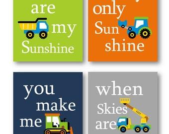 Construction Art for Kids // You are my sunshine Art Prints // Construction Vehicles Decor // Art for Boys // Truck Art 4-8x10 PRINTS ONLY