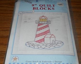 "20% Off Jack Dempsey Needle Art Kit~9"" Theme Quilt Blocks ~Lighthouse Design~#733 Pattern 415"