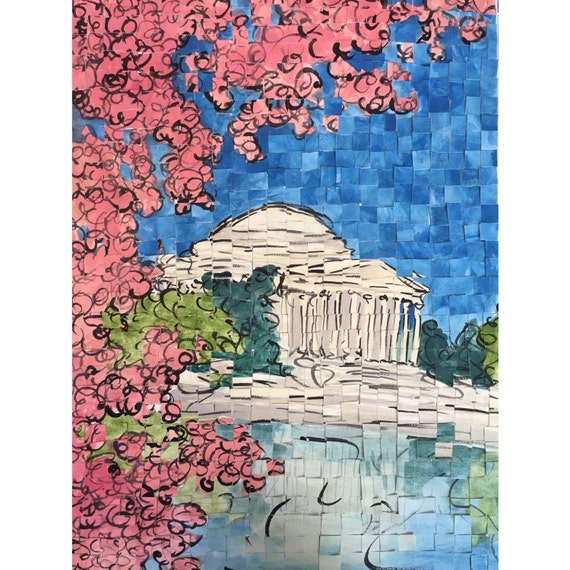 "Washington DC- Jefferson Memorial - Architectural Art: 12""x16"" Original Painting"